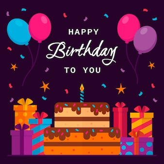 Fondo de cumpleaños con globos y pastel