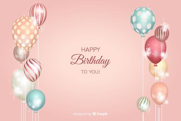 Fondo de cumpleaños con globos realistas