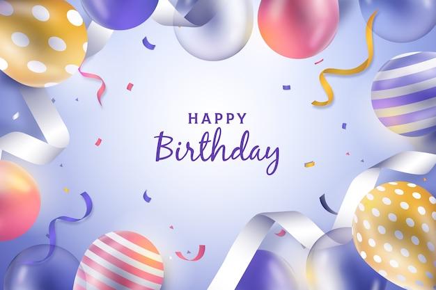 Fondo de cumpleaños de globos realistas