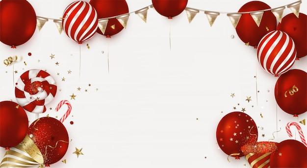 Fondo de cumpleaños con globos rojos, sombrero de fiesta, confeti de oro, piruletas.