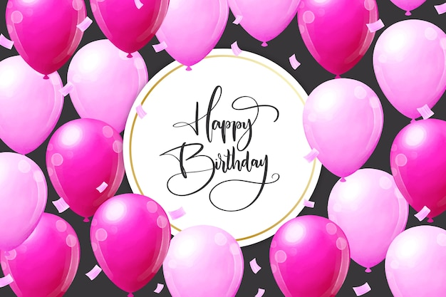 Fondo de cumpleaños con globos rosas