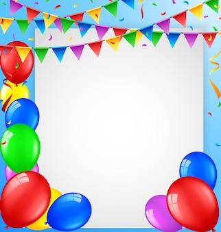 Fondo de cumpleaños con globos y signo en blanco