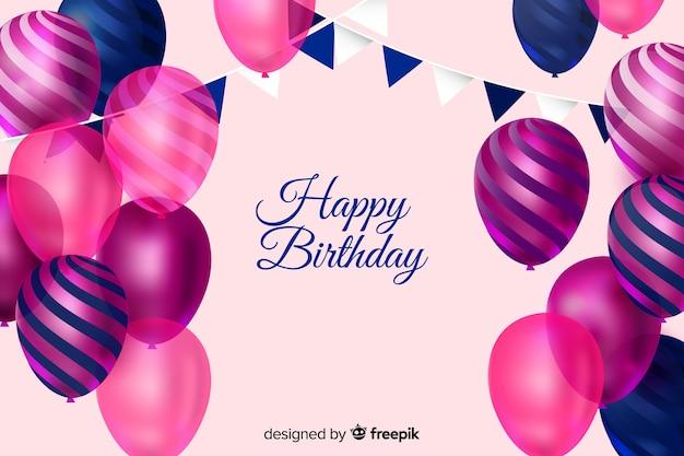 Fondo de cumpleaños con globos