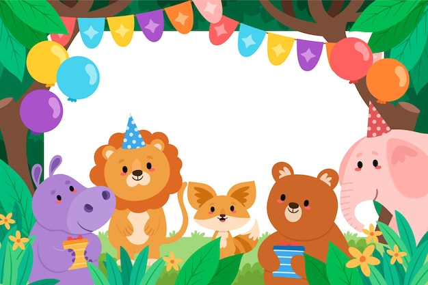 Fondo de cumpleaños infantil con animales.