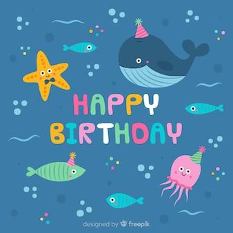 Fondo cumpleaños bajo el mar