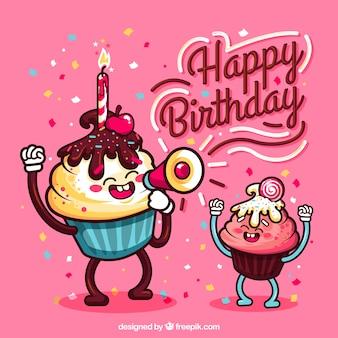 Fondo de cumpleaños con muffins