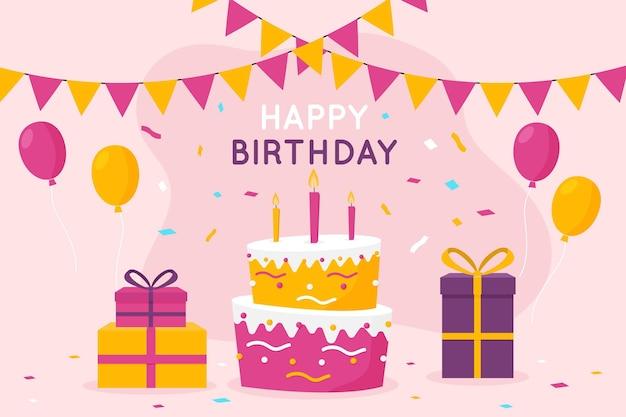 Fondo de cumpleaños con pastel y regalos