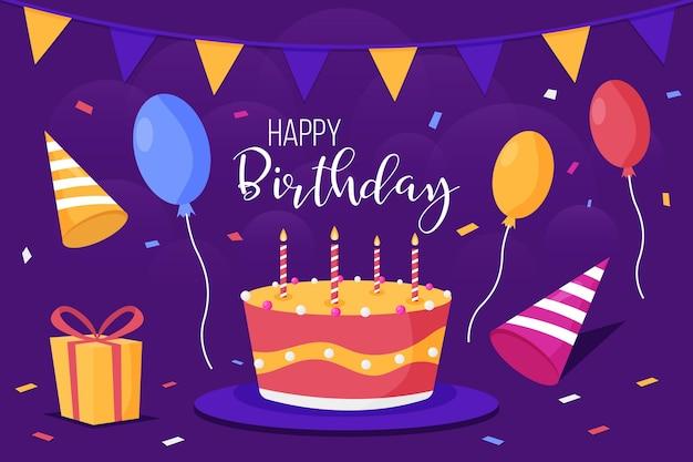 Fondo de cumpleaños con pastel y velas