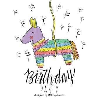 Fondo de cumpleaños con piñata colorida