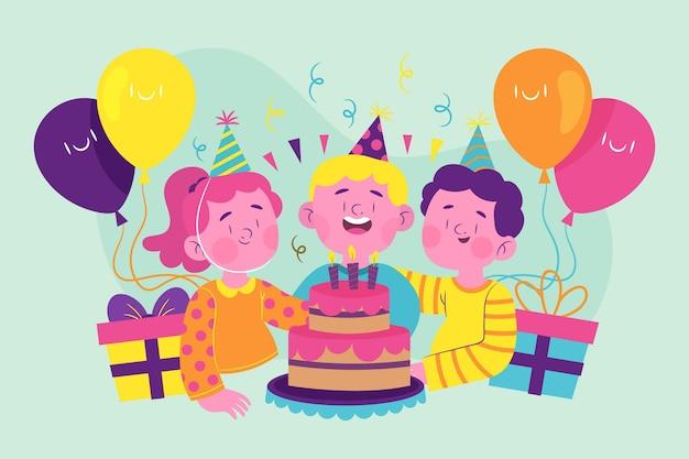 Fondo de cumpleaños plano orgánico