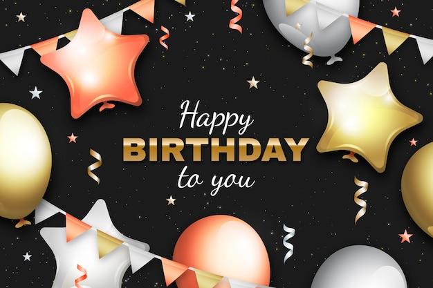 Fondo de cumpleaños realista con globos y confeti