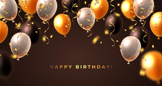 Fondo de cumpleaños realista con globos