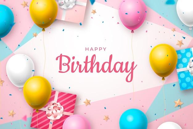 Fondo de cumpleaños realista con saludo