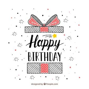 Fondo de cumpleaños con regalo dibujado a mano