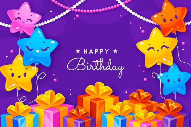Fondo de cumpleaños con saludo y elementos planos.
