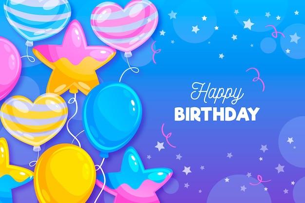 Fondo de cumpleaños con saludo y globos.