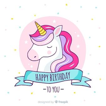Fondo cumpleaños unicornio dibujado a mano