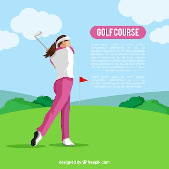 Fondo de curso de golf en estilo plano