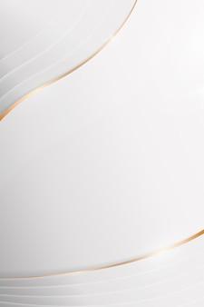 Fondo curvo de borde de oro abstracto blanco