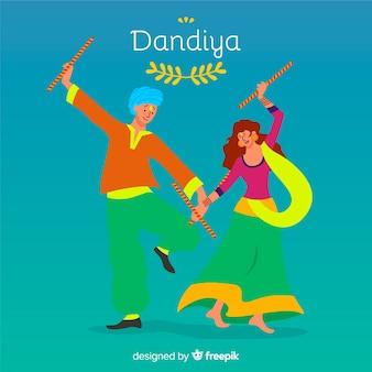 Fondo dandiya bailarines planos