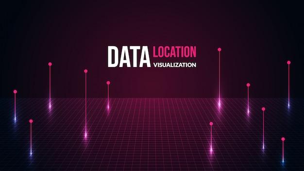 Fondo de datos de ubicación con luz brillante.