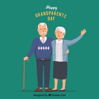 Fondo de abuelos saludando