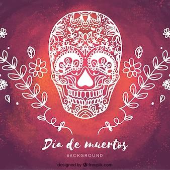 Fondo de acuarela con calavera mexicana dibujada a mano