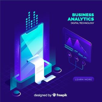 Fondo de análisis de negocios en estilo isométrico