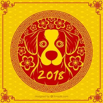Fondo de año nuevo chino amarillo y rojo