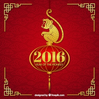 Fondo de año nuevo chino con un mono de oro