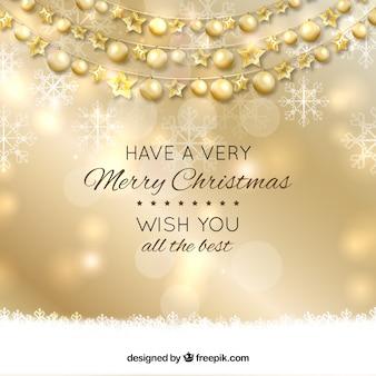 Fondo de año nuevo con bolas de navidad doradas