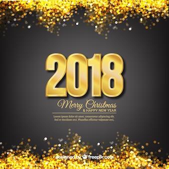 Fondo de año nuevo con brillo dorado