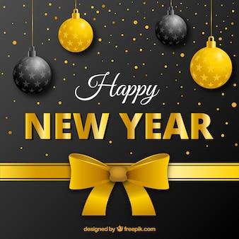 Fondo de año nuevo con decoración dorada