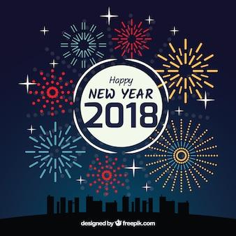 Fondo de año nuevo con fuegos artificiales