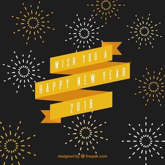 Fondo de año nuevo vintage con una cinta amarilla