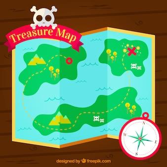 Fondo de aventura pirata con mapa del tesoro
