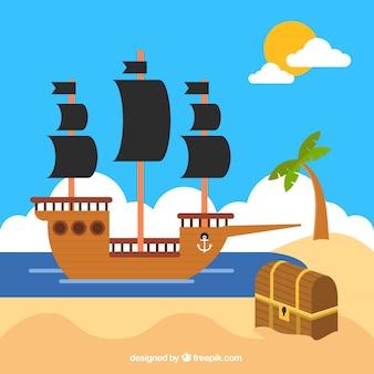 Fondo de barco pirata con cofre en diseño plano