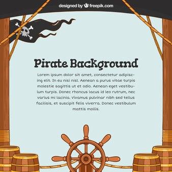 Fondo de barco pirata dibujados a mano