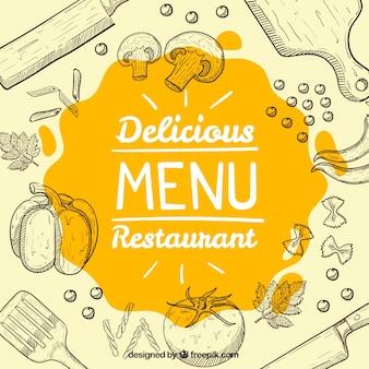 Fondo de bocetos de comida y objetos de cocina