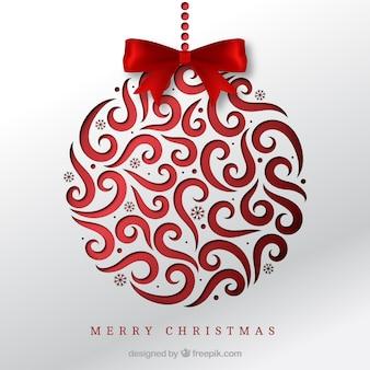 Fondo de bola navideña con lazo rojo