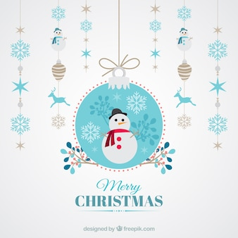 Fondo de bolas de navidad y muñeco de nieve