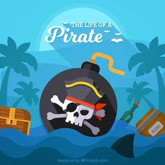 Fondo de bomba pirata en el mar