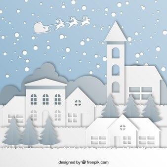 Fondo de bonita ciudad navideña de papel