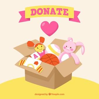Fondo de caja de juguetes para donación