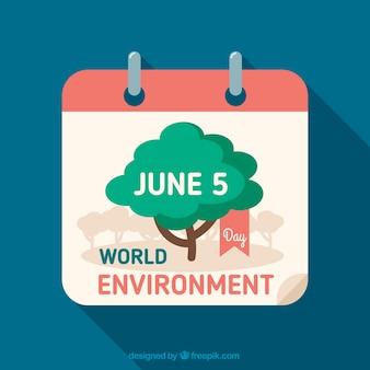 Fondo de calendario con el día mundial del medio ambiente