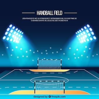 Fondo de campo de balonmano en estilo realista