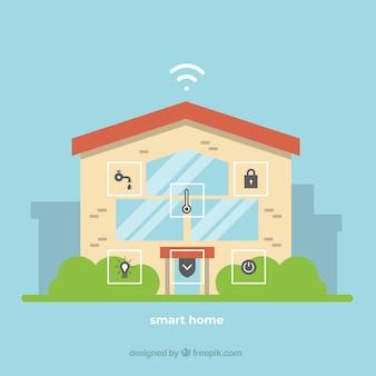 Fondo de casa inteligente con dispositivo