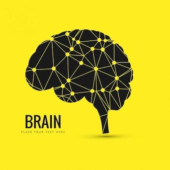 Fondo de cerebro geométrico en color amarillo