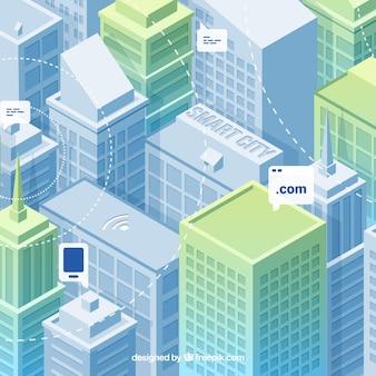 Fondo de ciudad moderna con rascacielos