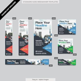 Fondo de ciudad plantilla de banner web corporativa en varios tamaños